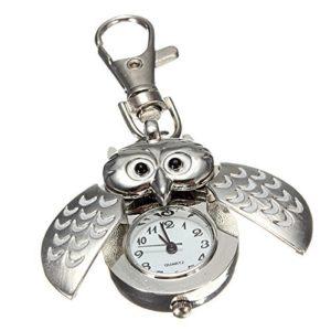 TOOGOO(R)Double hibou ouvert Keyring Pocket Watch