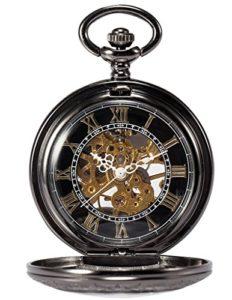 Treeweto Steampunk Squelette mécanique en cuivre FOB rétro pendentif montre de poche