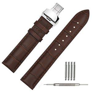 TStrap Bande / Chaîne / Bracelet de Montre Cuir 22mm Marron avec Boucle Déployante pour Homme Femme