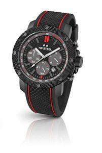 TW Steel Grandeur Tech TS6 – Mouvement Quartz – Affichage Chronographe – Bracelet Silicone Noir et Cadran Gris – Homme