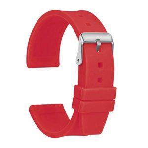 Ullchro Bracelet Montre Haute Qualité Remplacer Silicone Bracelet Montre Imperméable Flexible Lisse – 16,18,20,22,24,26,28mm Caoutchouc Montre Bracelet avec Acier Inoxydable Boucle (16mm, rouge)