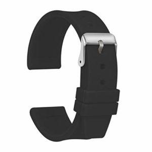 Ullchro Bracelet Montre Haute Qualité Remplacer Silicone Bracelet Montre Imperméable Flexible Lisse – 16,18,20,22,24,26,28mm Caoutchouc Montre Bracelet avec Acier Inoxydable Boucle (20mm, noir)