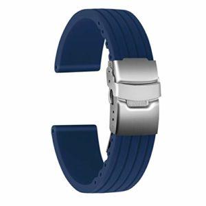 Ullchro Bracelet Montre Haute Qualité Remplacer Silicone Bracelet Montre Stripe Pattern – 16mm, 18mm, 20mm, 22mm, 24mm Caoutchouc Montre Bracelet avec Boucle Déployante Acier inoxydable (22mm, bleu)