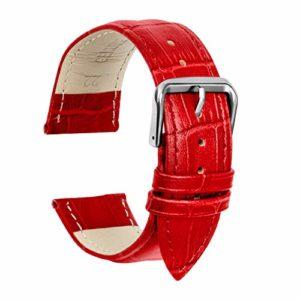 Ullchro Bracelet Montre Remplacer Top Cuir Véritable Bracelet de Montre Couture – 12, 14, 16, 18, 19, 20, 21, 22, 24 mm Bracelet Montre Remplacer avec Acier Inoxydable Boucle (12mm, rouge)