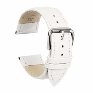 Ullchro Bracelet Montre Remplacer Top Cuir Véritable Bracelet de Montre Couture – 12, 14, 16, 18, 19, 20, 21, 22, 24 mm Bracelet Montre Remplacer avec Acier Inoxydable Boucle (14mm, blanc)