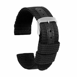 Ullchro Nylon Bracelet Montre Haute Qualité Toile Bracelet Montre Armée Militaire – 18mm, 20mm, 22mm, 24mm Montre Bracelet avec Acier Inoxydable Boucle (20mm, noir)