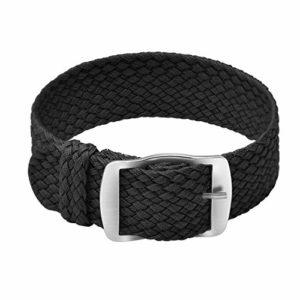 Ullchro Nylon Bracelet Montre Remplacer Haute Qualité Perlon Tissé Bracelet Montre NATO Homme Femme – 14, 16, 18, 20, 22mm Montre Bracelet avec Acier Inoxydable Boucle (20mm, noir)