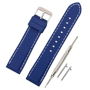 Vinband Bracelet Montre en Silicone Libération Rapide Bande de Montre en Caoutchouc Souple Bande de Montre Intelligente – 18, 20, 22, 24 mm Bracelets de Montres Caoutchouc (18mm, bleu profond)