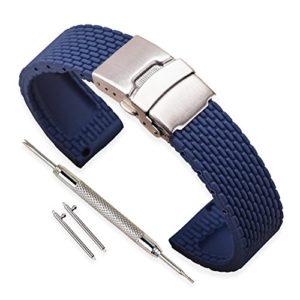 Vinband Bracelet Montre Haute Qualité Remplacer Silicone Bracelet Montre Homme Femme Noir – 18mm, 20mm, 22mm, 24mm Caoutchouc Montre Bracelet avec Quick Release Pins & Boucle Déployante (22mm, bleu)
