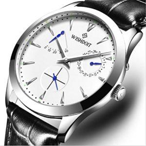 WISHDOIT Loisirs Montres Automatiques Mécaniques Bracelet Cuir Montres Homme , Silver