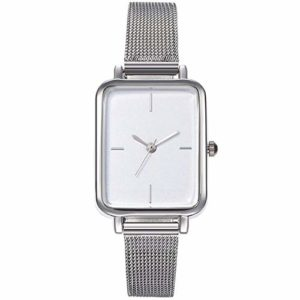 ZSDGY Fashion Casual Lady Personality Square Shell Silver Mesh Belt Watch