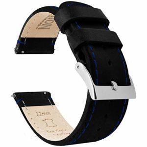 Barton Bracelet de montre en cuir grainé à libération rapide Différentes largeurs disponibles 18mm Black Leather / Blue Stitching
