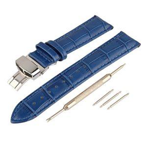 Beauty7 Bracelet du Montre Avec Outil 12mm/14mm/16mm/18mm/20mm Bande du Montre Boucle Deployante en Cuir de Vache Remplacement Bande de Poignet Etanche Bleu Homme Femme