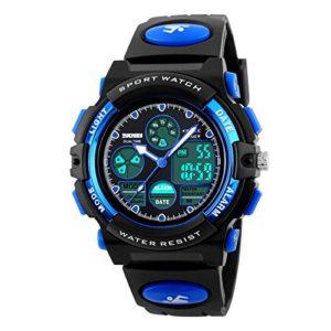Bec enfants montre Mode décontractée étanche multifonction à quartz Digital montre de sport pour garçons filles étudiants stabilité Bleu