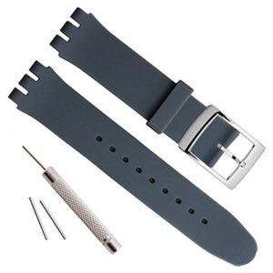 Boucle en acier inoxydable plaqué argent avec bracelet en caoutchouc de silicone étanche (17mm, Darkgray)