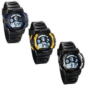 JewelryWe 3PCS Montre d'Enfant Garçon Sport Electronique Chiffre Cadran 12/24H Lumineux Alarme Multifonctionnel Bracelet Plastique Acier Inoxydable Couleur Bleu Jaune Argent