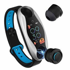 LCTS Bracelet de Casque Bluetooth Bracelet Intelligent, avec Surveillance de la Pression artérielle de fréquence Cardiaque de Sport Bluetooth 5.0, Bracelet de Casque Bluetooth 2 en 1,Argent