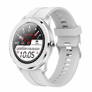 LCTS Mode Montre de Sport Bracelet Intelligent de Mode, avec 1,28 Pouce Full Touch AI Cadran personnalisé podomètre de Sport fréquence Cardiaque Pression artérielle Surveillance du Sommeil,Blanc