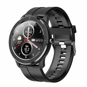 LCTS Mode Montre de Sport Bracelet Intelligent de Mode, avec 1,28 Pouce Full Touch AI Cadran personnalisé podomètre de Sport fréquence Cardiaque Pression artérielle Surveillance du Sommeil,Noir
