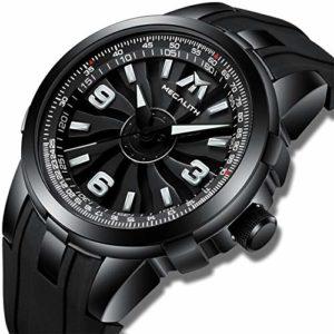 MEGALITH Montre Homme Noir Montres Bracelets Etanche Militaire Design Grand Cadran de Turbine Rotatif Sport Montre en Caoutchouc Analogique Quartz Mode