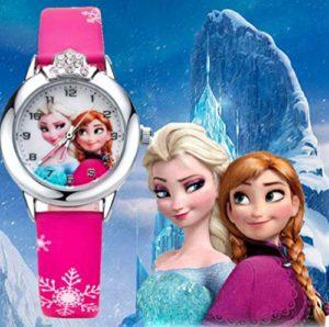 Montre quartz fille Frozen Princesse des neiges Elsa et Anna bracelet Cuir rose Mode Fille étudiante (cadran affichante elsa et anna) (Anna Elsa rose foncé)