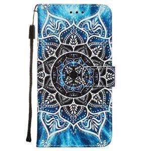 Nadoli Coque Cuir pour Huawei P40 Lite,Coloré Mandala Fleur Housse en Dragonne Stand Support Portefeuille Fermeture Magnétique Protecteur Cover Étui à Rabat