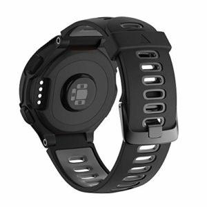 NotoCity Bracelet 735xt Forerunner Montre Fitness Tracker Silicone Souple Bracelet de Replacement Sport Compatible Forerunner 230/235/620/630/735XT Boucle Noire (Gris-Noir)