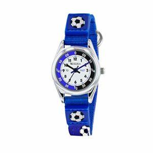 Tikkers pour garçon montre à quartz avec cadran blanc Affichage analogique et tissu bleu et toile Sangle Tk0122