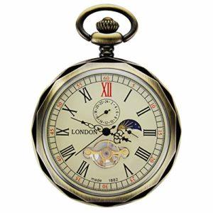 Treeweto mécanique montres de poche Bronze Chiffres romains avec chaîne à visage ouvert pour homme 24heures Lune Soleil + Boîte Cadeau