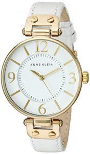 109168WTWT AK Anne Klein Femmes d'or-ton ronde montre-bracelet en cuir blanc