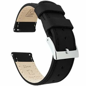 BARTON WATCH BANDS Bracelet De Montre en Cuir Libération Rapide – Choisissez La Couleur Et La Taille Cuir Noir/Coutures Noires 22mm