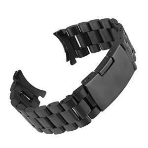Beauty7 Bracelet du Montre 16mm/18mm/20mm/22mm/24mm Bande du Montre Pour Cadran Rond Boucle Deployante en Acier Remplacement Bande de Poignet Etanche Noir Homme Femme