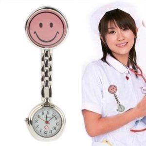 HANMEILING Nouveau Mignon Visage Souriant Jaune Style infirmière Quartz avec Clip (Rose) (Color : Pink)