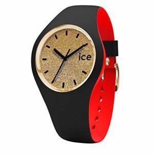 Ice-Watch – ICE loulou Gold Glitter – Montre noire pour femme avec bracelet en silicone – 007238 (Medium)