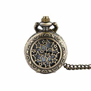 JBVG Montre de Poche Neutre Bronze Petit Retro Pocket Watch Petite chaîne pour Les Hommes Et Les Femmes (Color, Size : Free Size)