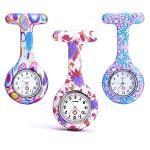 Lot de 3 montres médicales Jsdde motif fleurs en silicone montre broche pour infirmière docteur ambulancier à accrocher à l'uniforme