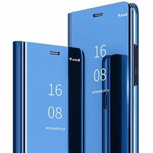 MadBee Coque Galaxy A20 / A30 [Film de Protection écran], Smart Mirror Cover en Cuir Flip téléphone Mobile Étui Housse de Protection pour Samsung Galaxy A20 / A30 (Bleu)