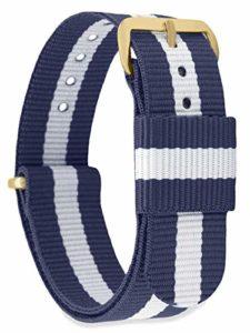 MOMENTO Bracelet de Montre pour Homme et Femme NATO Nylon Tissu avec Boucle en Acier Inoxydable en Or Jaune et Tissu Bleu Blanc en 20mm