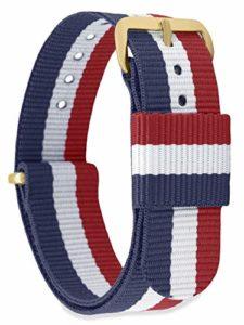 MOMENTO Bracelet de Montre pour Homme et Femme NATO Nylon Tissu avec Boucle en Acier Inoxydable en Or Jaune et Tissu Bleu Blanc Rouge en 18mm