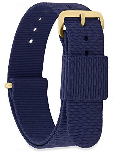MOMENTO Bracelet de Montre pour Homme et Femme NATO Nylon Tissu avec Boucle en Acier Inoxydable en Or Jaune et Tissu Bleu Foncé (Marine) en 16mm