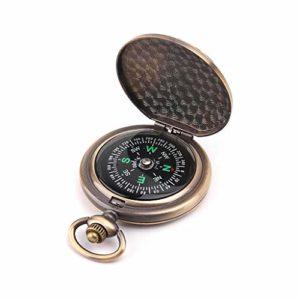 Montre de poche rétro en alliage de zinc avec boussole