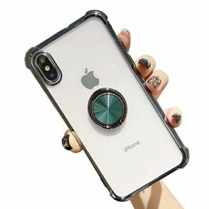 Suhctup Coque Compatible pour iPhone X/XS avec Support,Etui Case Transparent Silicone TPU Gel [Angles Renforcés] Antichoc Housse Cover avec 360° Support de Voiture Magnetique,Vert