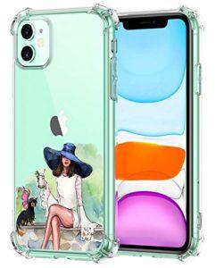 Suhctup Coque Filles Compatible pour iPhone 11,Etui [Antichoc Airbag] Transparent Silicone TPU Souple Mode Motif Crystal Housse de Protection Case pour iPhone 11,Filles 1