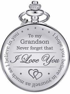 Cadeau de Mémoire à ma Montre de Poche Grandson, Je t'aime à Petit-Fils Cadeau de Grand-Père Grand-Mère (Argent)