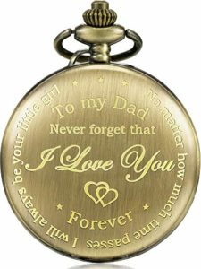 Cadeau du Père de la Fille au Père Montre de Poche Gravée – No Matter How Much Time Passes, I Will Always Be Your Little Girl (Bronze )