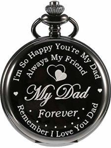 Cadeaux Gravés de Montre de Poche pour Le Père de Papa avec la Boîte-Cadeau, Cadeau de Fête des Pères d'anniversaire de Noël de Fille Son Fils (Noir)