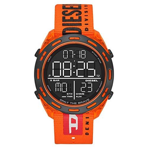 DIESEL-Montre numérique Crusher avec Bracelet en Nylon Orange DZ1896
