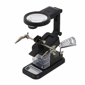 Donci Multifonctionnel Table Modèle En Verre Auxiliaire Clip De Bureau LED Éclairé En Métal Acrylique USB Port À Souder Support de Réparation Outil Loupe