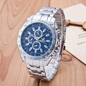 HOUSEHOLD Lot de 3 montres à quartz décontractées et étanches pour hommes, Blue