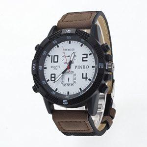 HOUSEHOLD Lot de 3 montres sport tendance et décontractées étanches avec cadran rond et bracelet en cuir pour montre HBDZ, White and dark coffee